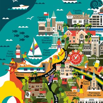 Mapa Ilustrado de Viña del Mar - Tienda Mappin, Chile. A Design, Illustration, Design Management, Fine Art, Graphic Design, Information Design, Painting, Lettering, Vector Illustration, Sketching, Creativit, Drawing, and Digital illustration project by Claudia Silva - 10.15.2019