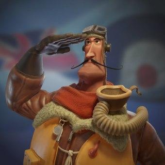 Personaje videojuegos (Piloto de la RAF). Um projeto de 3D, Modelagem 3D, Design de personagens 3D e Desenvolvimento de videogames de Fernando Morera Celda - 19.02.2020