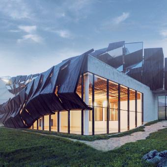 Architectural concept, based on restoration of old sport center in Carpathian mountains - Vorokhta village-  west Ukraine. Un progetto di 3D, Architettura, Architettura d'interni , e Architettura digitale di Lena Chy - 10.09.2015
