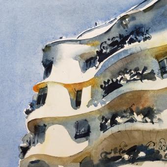 Paisaje urbano. Un progetto di Architettura, Pittura ad acquerello, Illustrazione architettonica , e ArchVIZ di Gonzalo Ibáñez - 10.09.2020