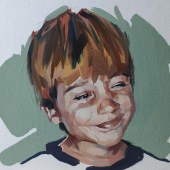 Retrato al óleo de mi hijo.. Un projet de Peinture à l'huile de Ale Casanova - 20.11.2020