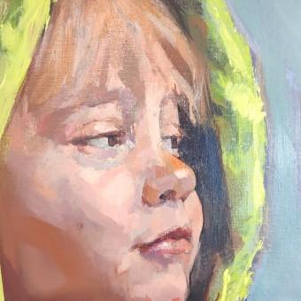 Retrato en acrílico y óleo de mi hijo.. Un projet de Peinture à l'huile de Ale Casanova - 20.11.2020