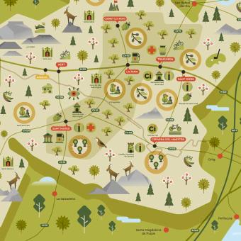 Ánima interior - Mapa turístico ilustrado. Un progetto di Illustrazione, Graphic Design , e Design di pittogrammi di Pistacho Studio - 09.12.2020