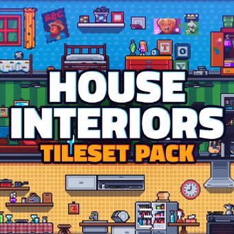 Pixel Art Tileset: House Interiors. Um projeto de Videogames, Pixel Art, Design de videogames e Desenvolvimento de videogames de Daniel Benítez - 09.01.2020