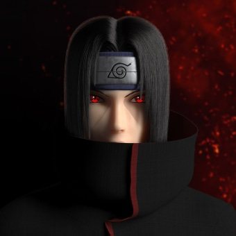 Itachi Uchiha (うちはイタチ). A 3D, Rigging, 3D Animation, 3d modeling, and 3D Character Design project by Maite Gómez García - 01.24.2021