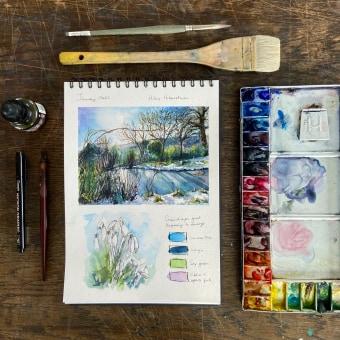 Arley Seasonal Journal. Thank you to a_aradilla for the excellent journaling course! . Un proyecto de Pintura a la acuarela de Sarah Stokes - 11.02.2021