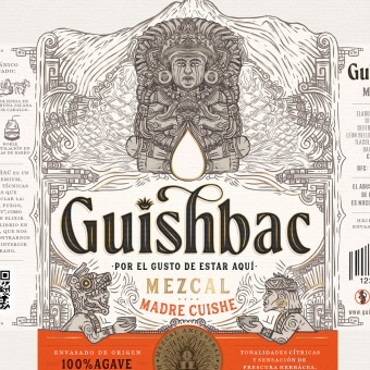 GUISHBAC - Mezcal 100% agave 🇲🇽⛰️. A Design, Illustration, Graphic Design, Packaging, Pencil drawing, Drawing, Portrait Drawing, and Artistic drawing project by Emi Renzi - 03.09.2021