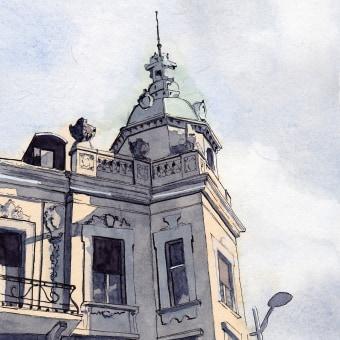 Mein Kursprojekt: Architektonische Zeichnung mit Aquarell und Tinte. A Architecture, Street Art, and Watercolor Painting project by Hanspeter Stünzi - 03.29.2021