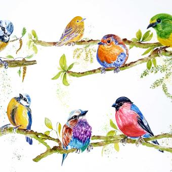 """""""Charlas matutinas"""". Mi Proyecto del curso: Acuarela artística para ilustración de aves. Un proyecto de Bellas Artes de Loli Crespo - 28.04.2021"""