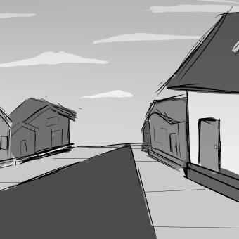 traurige Häuser. Un proyecto de Ilustración, Stor y board de Maritza Cortez - 06.05.2021