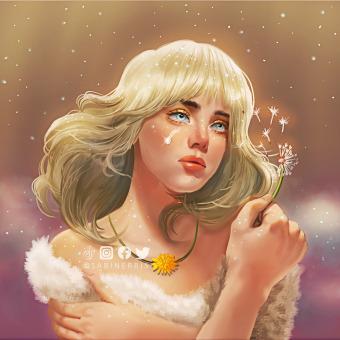 "Billie Eilish's ""Happier than Ever"" Angelic dandelion portrait. A Illustration, Drawing, Digital illustration, Portrait illustration, Portrait Drawing, Digital Drawing, and Digital Painting project by Gari Lubag - 05.04.2021"