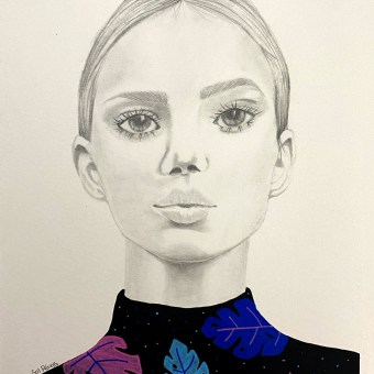 Mi Proyecto del curso: Retrato con lápiz, técnicas de color y Photoshop. A Illustration, Pencil drawing, Drawing, Portrait illustration, and Portrait Drawing project by Claudia Marisol Pérez Espinosa - 04.21.2021