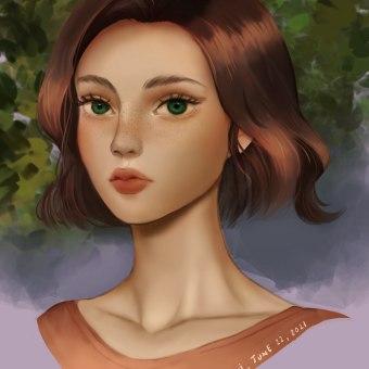 My project in Digital Fantasy Portraits with Photoshop course. Un proyecto de Ilustración, Dibujo, Ilustración digital, Ilustración de retrato, Dibujo de Retrato, Dibujo digital y Pintura digital de Sarah Lu - 23.06.2021