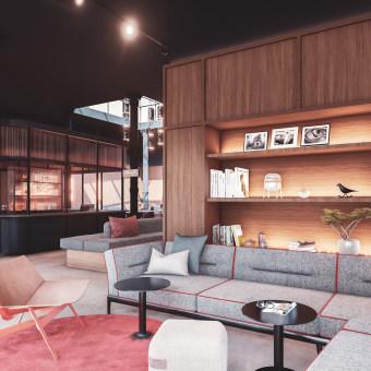 Concept Hotel - Amsterdam. Um projeto de Arquitetura, Arquitetura de interiores e Infografia de Majo Mora Carmona - 06.06.2019