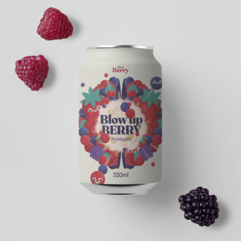 Kombucha. Blow up Berry. A Design, Grafikdesign, Verpackung und Logodesign project by Bee Comunicación - 07.09.2021