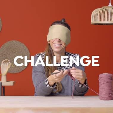 Challenge en dos rondas: tejiendo con los ojos cerrados y con la otra mano
