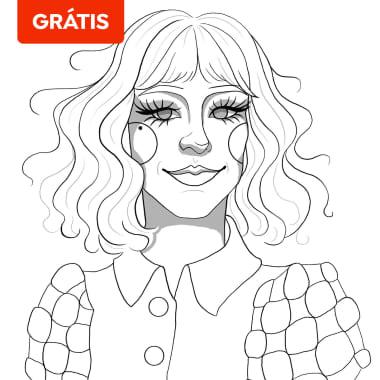 Download grátis: rascunho para retrato de Cruella em aquarela