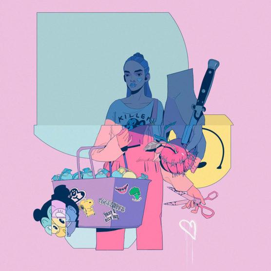 Sergio Navaja y sus musas envueltas en coloridos elementos pop
