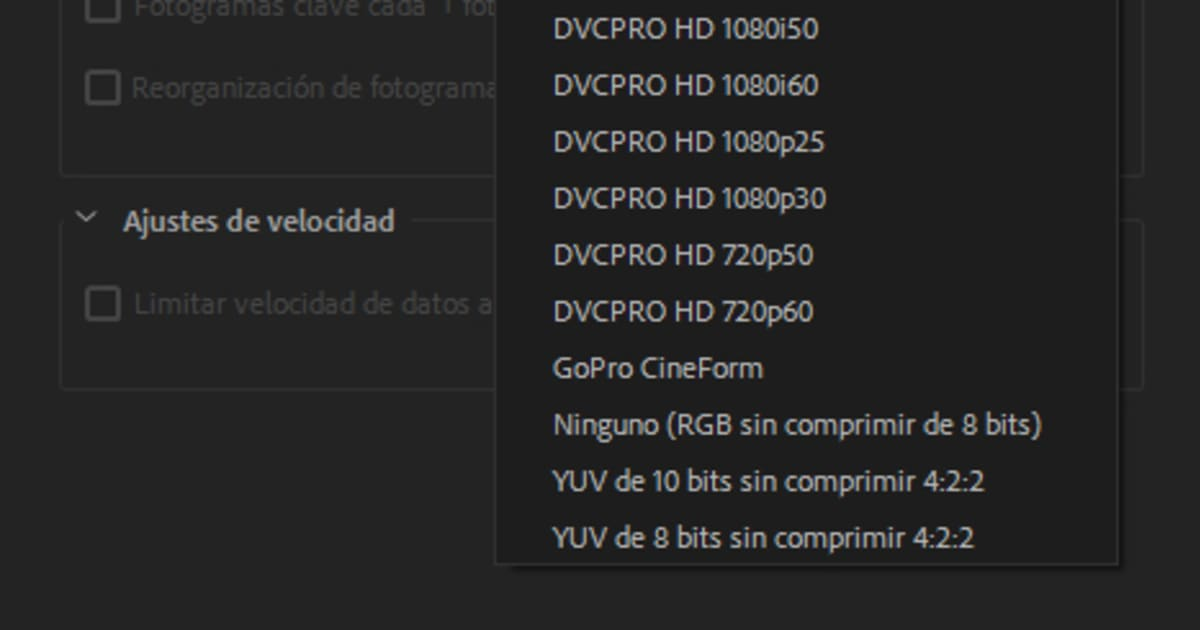 Alternativa a exportar en Quicktime y códec de vídeo H 264