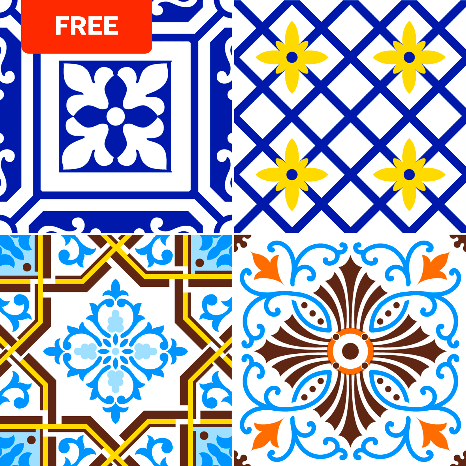 Free E-Book: Patterned Tile Coloring Book