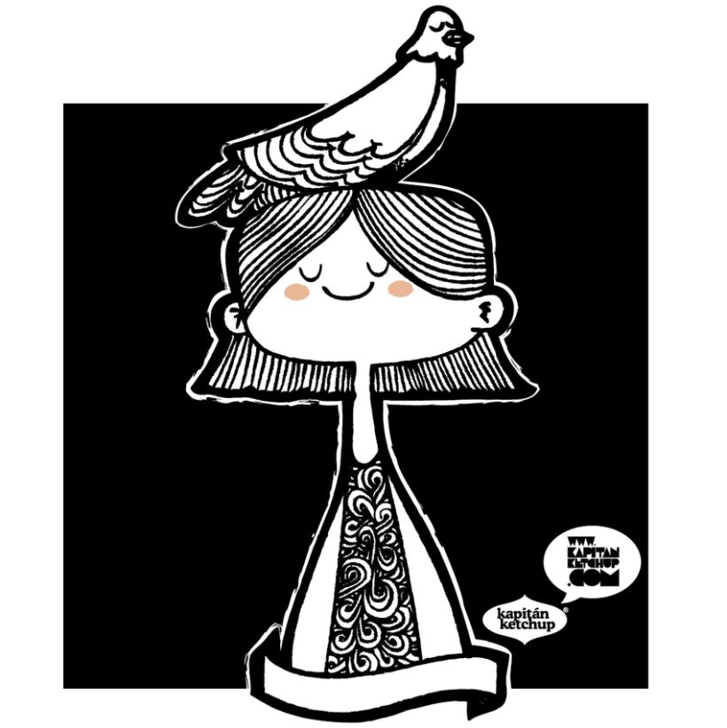 a girl, a bird 1