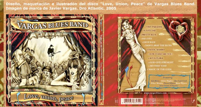 """Diseño e ilustración de Disco """"Love, union, peace"""" de la Vargas Blues Band. 1"""
