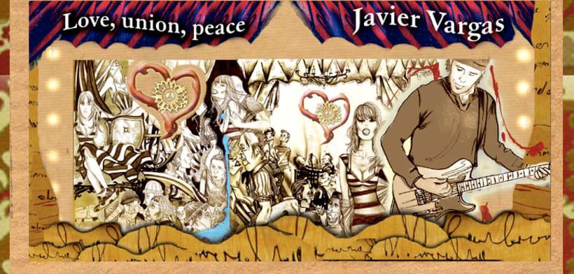 """Diseño e ilustración de Disco """"Love, union, peace"""" de la Vargas Blues Band. 4"""