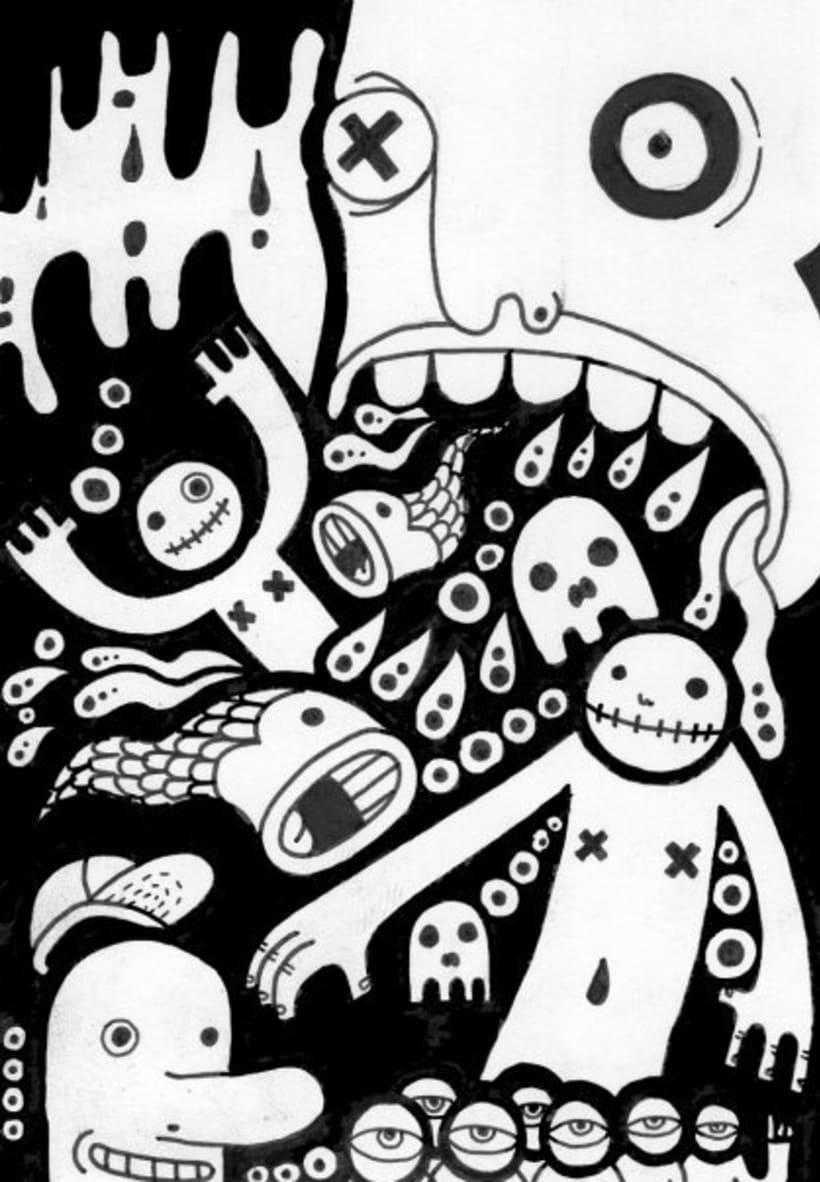 dibujos sobre papel en blanco y negro 2