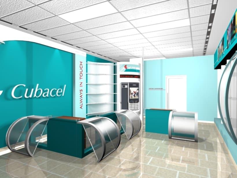 Dise o de interiores tienda cubacel domestika for Disenos de interiores para negocios