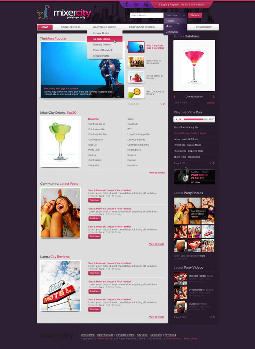 MixerCity homepage layout 1
