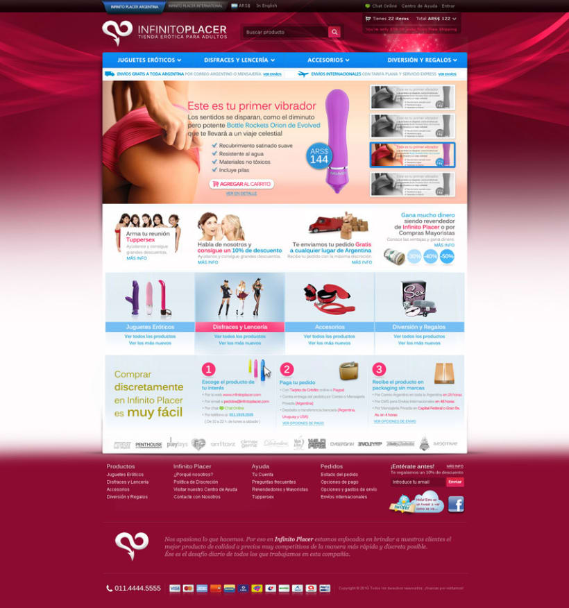 Infinito Placer Store website design 1