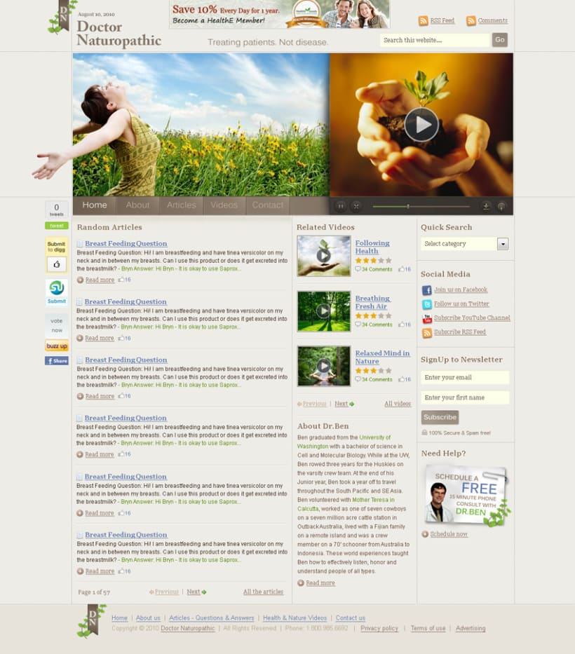 Doctor Naturopathic homepage redesign 2