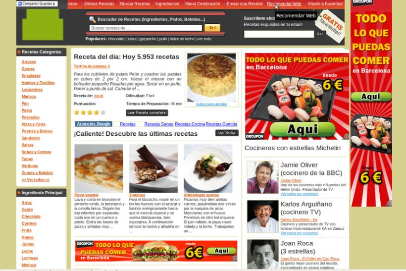 Recetas de Cocina: Programación PHP + Javascript + MySQL y retoques sobre el HTML/CSS original  1
