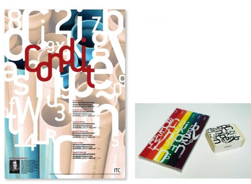 Cartel promocional y objetos de merchandising - Tipografía Conduit 1