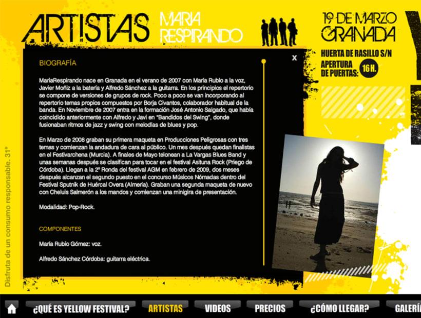 Web - Maquetación y modelo portada Yellow Festival 2