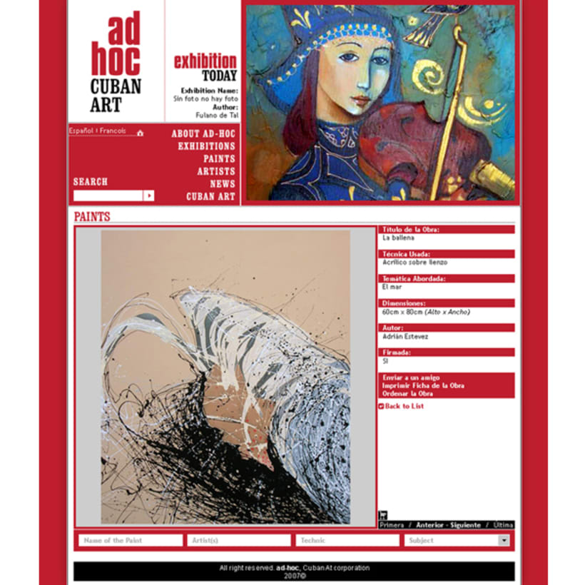 Sito web. AD HOC, Arte contemporáneo cubano 1