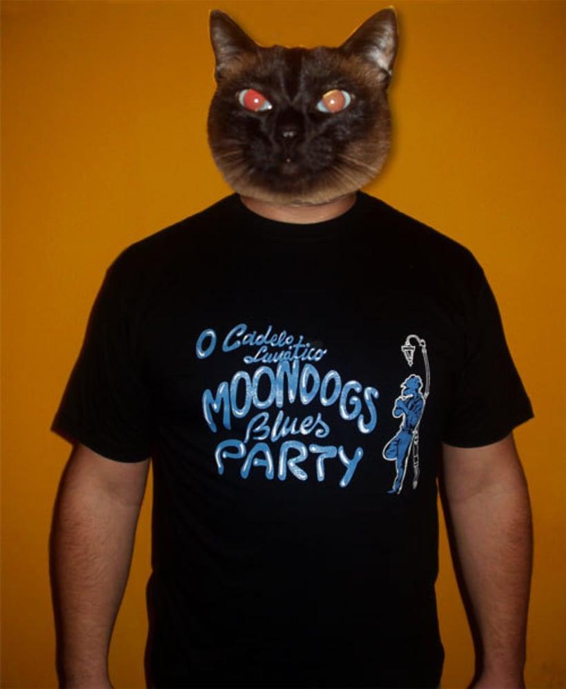 Camiseta promocional del grupo Moondogs Blues Party 1