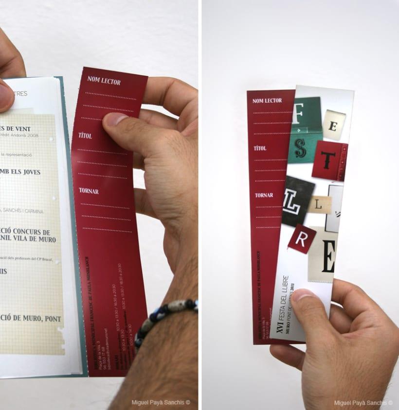 """""""festa del llibre"""" cartel, díptico y separador 6"""