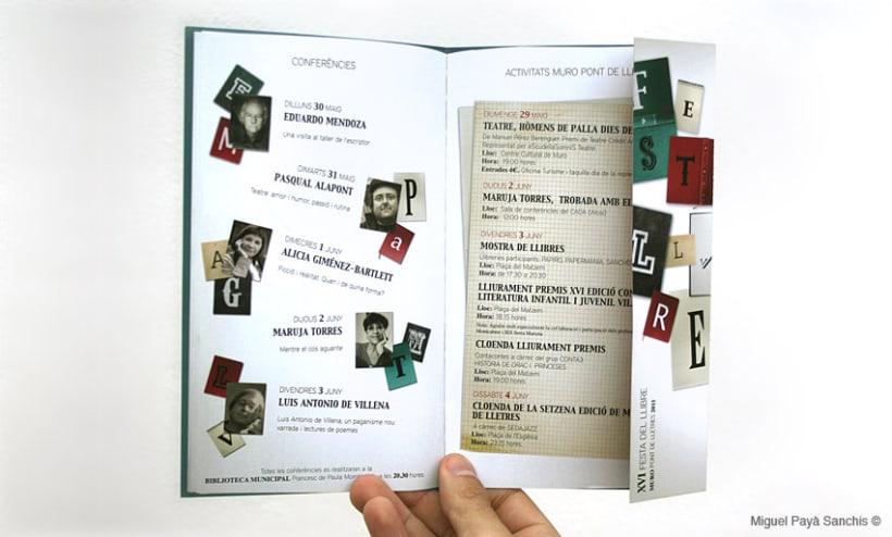 """""""festa del llibre"""" cartel, díptico y separador 4"""