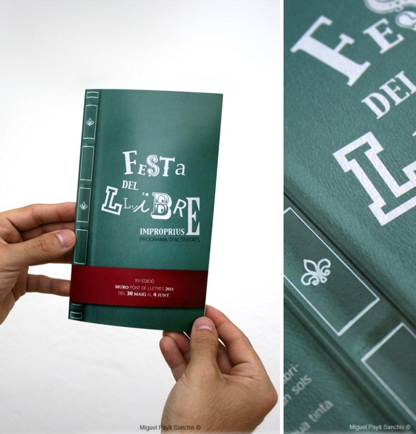 """""""festa del llibre"""" cartel, díptico y separador 3"""