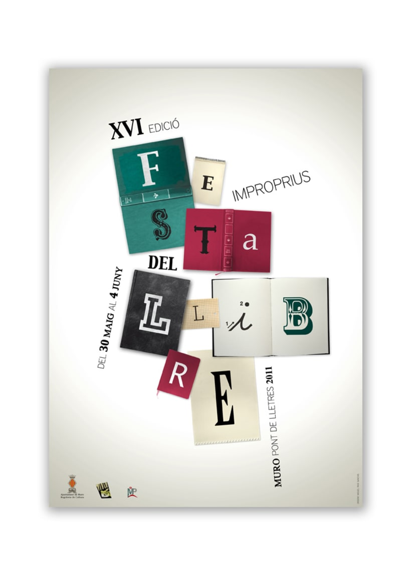 """""""festa del llibre"""" cartel, díptico y separador 1"""