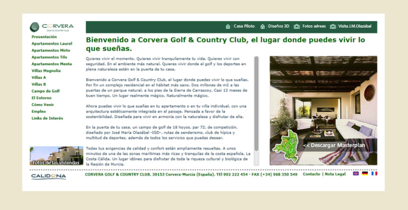 Web Corporativa Corvera Golf & Country Club 2