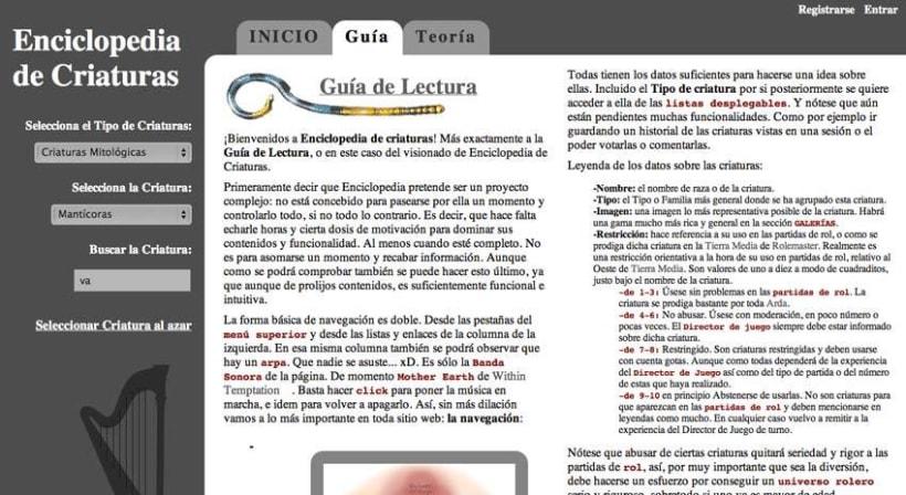 Sitio web: Enciclopedia De Criaturas versión AJAX 2