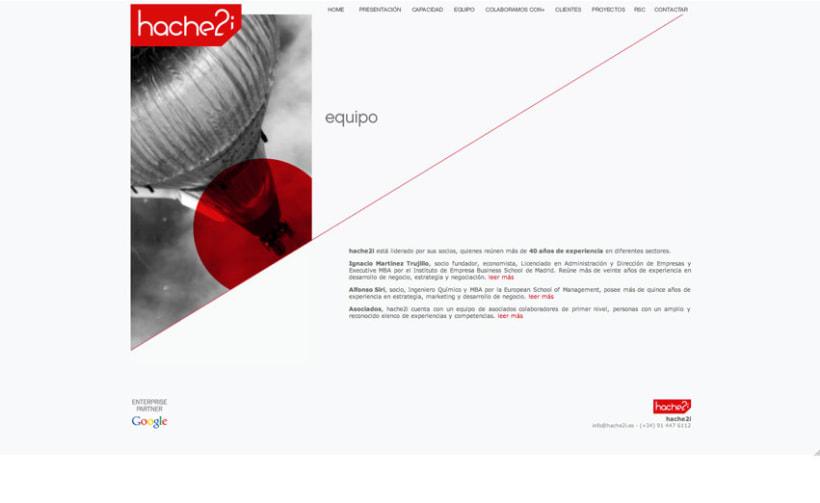 Hache2i, logotipo, tarjetas, material corporativo y página web. 6