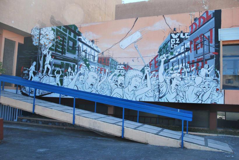 """Mural """"Revolución"""" en la F.E.G. 16"""