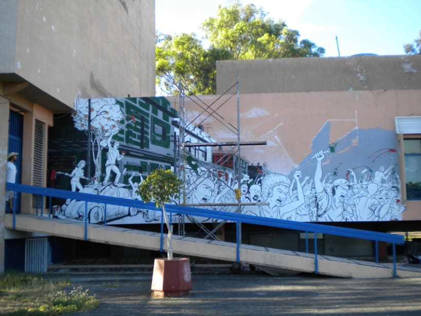 """Mural """"Revolución"""" en la F.E.G. 10"""