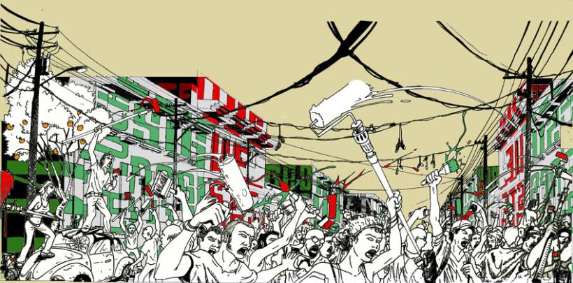 """Mural """"Revolución"""" en la F.E.G. 4"""