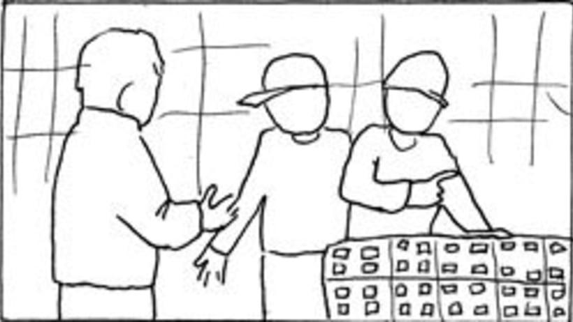 Amateurs, storyboard de la película 12