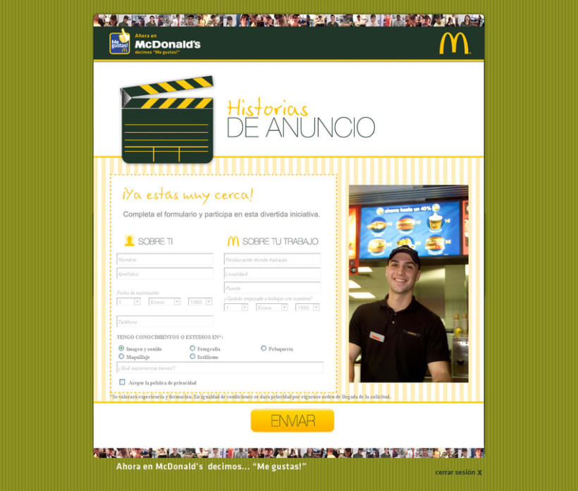 Mcdonald's Me Gustas (maquetación y programación de campaña interna para empleados de Mcdonald's) 3