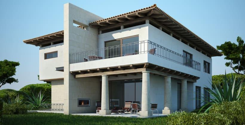 Renders fotorealistas domestika for Casas modernas renders